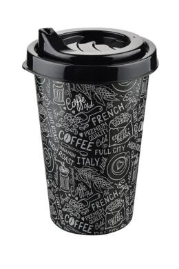 Tuffex pohár kávé mintás tetővel 0,25l TP514 fekete