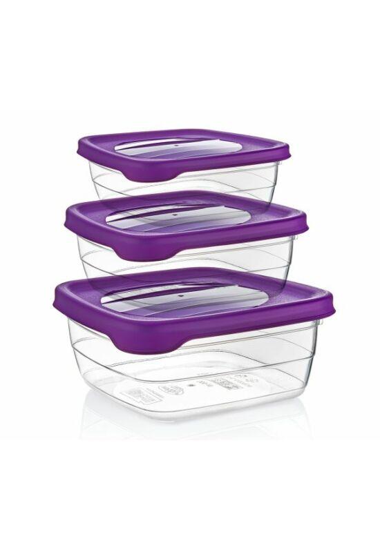 Hobby trend tároló doboz négyzet 3 részes 0,9+1,5+2,5l 021036 lila