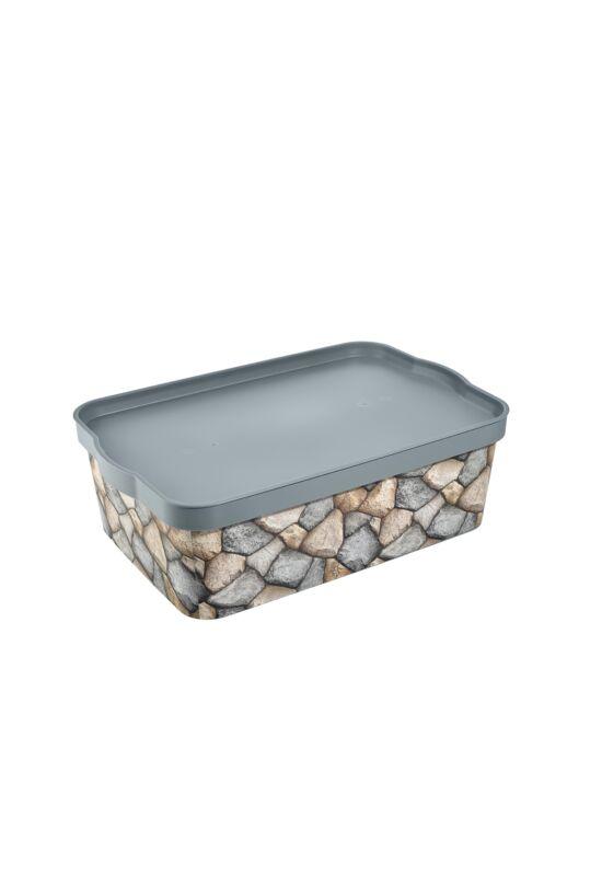 Tuffex tároló doboz tetővel mintás 14l TP600 ÚJ kavics